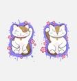 Kawaii Maneki-Neko lucky cats set of two vector image vector image