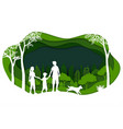 landscape with eco green city and happy family vector image vector image