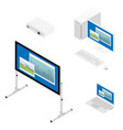 laptop computer projector and screen isometric vector image vector image