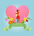 love spring valentine day with two enamored vector image vector image