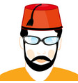 man in turkish hat vector image vector image