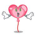 money eye ballon heart mascot cartoon vector image