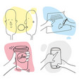 outline human work day hand drawn set vector image