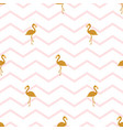 pattern with golden flamingos vector image