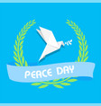 peace day ribbon origami dove birds olive branch v vector image