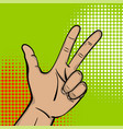 pop art strong man hand show three finger vector image