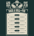 poster for music rock and roll pub with live music vector image vector image