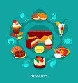 Restaurant Desserts Round Composition vector image vector image