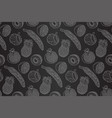 seamless black and white pattern with fruits vector image