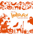 seamless horizontal borders of halloween icons vector image