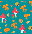 seamless pattern with autumn mushrooms and vector image