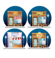 set buildings facades with neon labels vector image