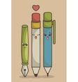 Set pens funny character isolated icon design