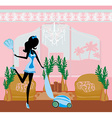 Sexy pinup style french maid cleans the room vector image vector image