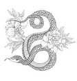 snakes and flowers tattoo art coloring books vector image vector image