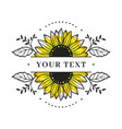 sunflower frame split monogram floral vector image