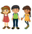 Three kids vector image vector image
