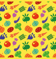 vegetarian seamless pattern with carrot tomato vector image