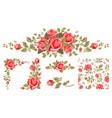 vintage red roses set vector image