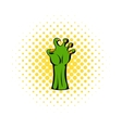 Witch green hand icon comics style vector image vector image