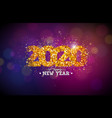 2020 happy new year with shiny number vector image vector image