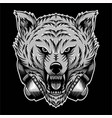 angry wolf headphone vector image vector image