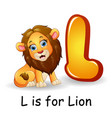 animals alphabet l is for lion vector image vector image