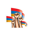 armenia flag and hand on white background