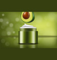 avocado cream realistic product placement package vector image vector image