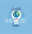 banner with lightbulb and earth hour inscription vector image