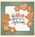 beautiful christmas card with gingerbread vector image vector image