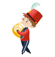 boy in school band playing french horn vector image vector image