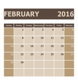 Calendar February 2016 week starts from Sunday vector image vector image
