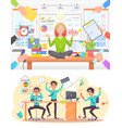 calm woman and stressed man at office work set vector image