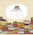 card with many various cakes on a beige background vector image