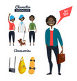 cartoon character of male hipster in casual style vector image vector image
