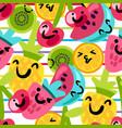 cartoon fruits semoji seamless pattern vector image vector image