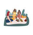 cartoon picnic weekend getaway with friends vector image
