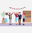 celebrating event in office colleagues vector image vector image