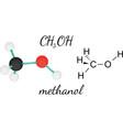 CH3OH methanol molecule vector image vector image