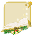 Christmas decoration frame with book vector image