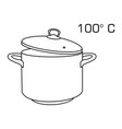 cooking pot line outline icon 100 degree celsius vector image vector image