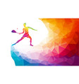 creative silhouette female squash player vector image vector image