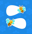 cute bees holding white empty signboarda with vector image vector image