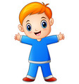 cute little boy cartoon in blue shirt vector image vector image