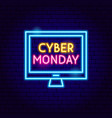 cyber monday computer neon sign vector image