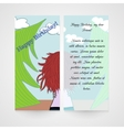 Designe greeting card with women in the wood vector image