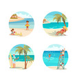 dream scene with beautiful beach in round design vector image vector image