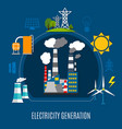 electricity generation flat composition vector image