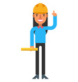 Engineer girl holding a ruler Flat isolated on vector image